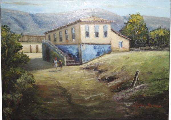 """Guinna Barbosa, """"Casario Sul de Minas"""", Acrílico sobre Tela, 50 x 70, datado em 2014, assina"""