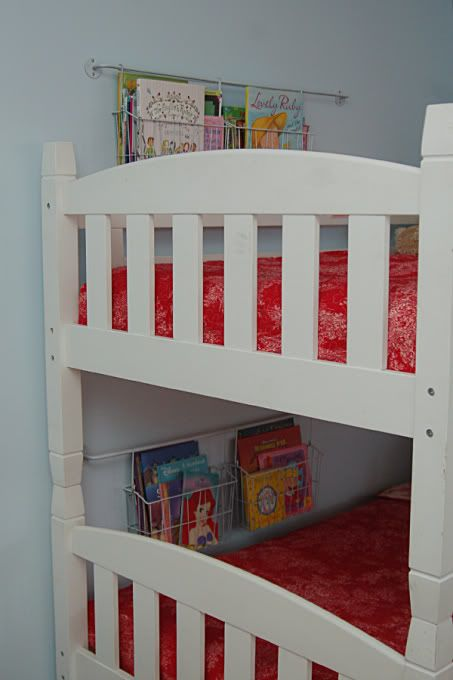 Book holders for bunk beds. Got to do this in Paiton's room - I always find books jammed between the bed and the wall in there.