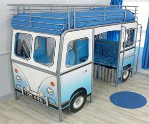 VW Bus Bunk Bed with seat underneath...how cute is that.