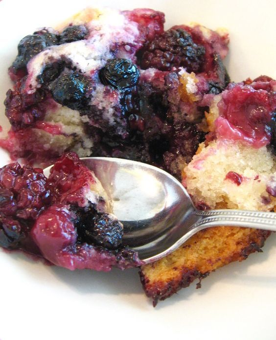 Easy Triple Berry Cobbler - made with frozen berries this recipe is super easy and quick, as well as delicious. Great for last-minute company.