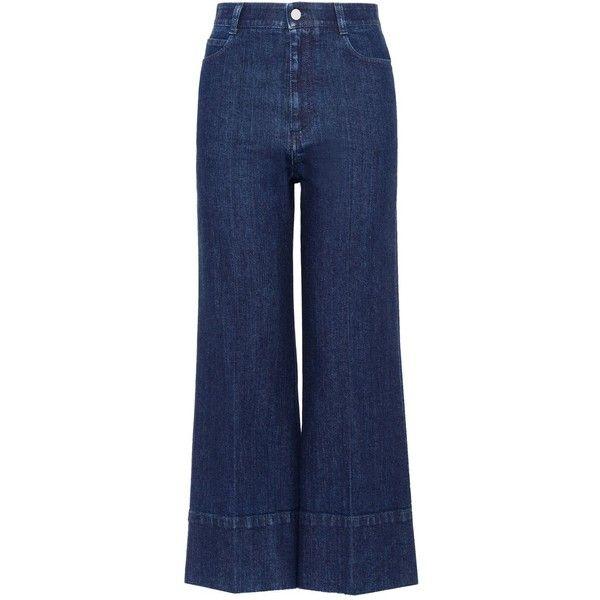 Stella Mccartney Dark Blue Denim Culottes ($335) ❤ liked on Polyvore featuring pants, capris, jeans, bottoms, blue, zipper pants, denim pants, zipper pocket pants, dark blue pants and blue high waisted pants