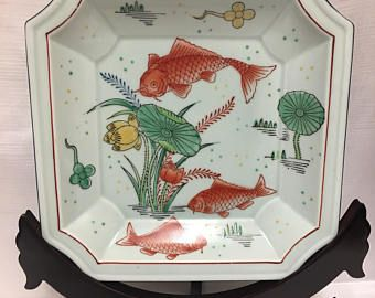 Asian vintage hand painted Celadon / porcelain decorative plate - Red fishes & flowers hand decorated