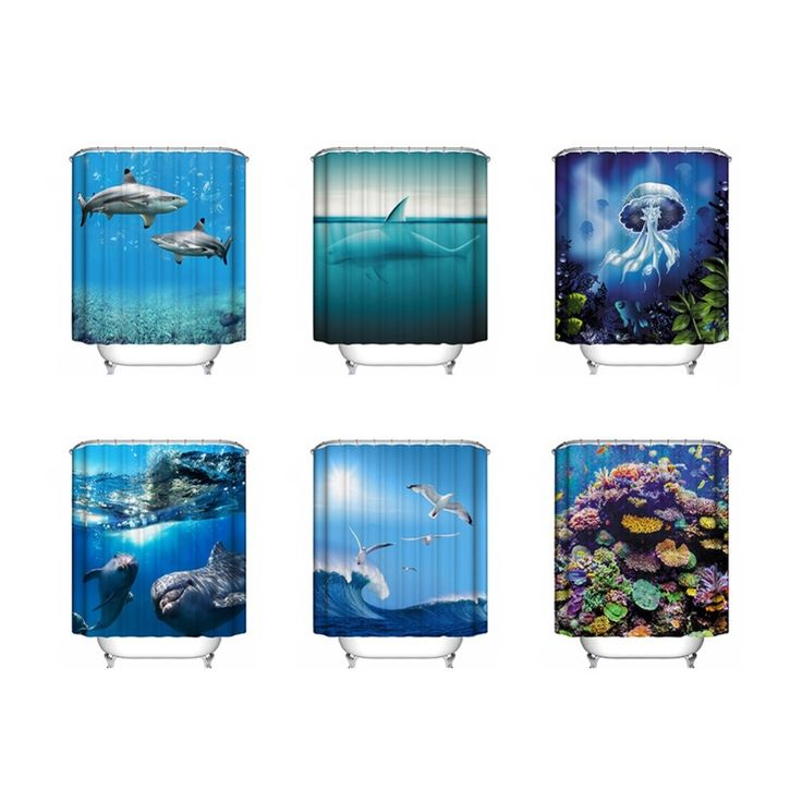 6 Типа Полиэстер Водонепроницаемые Занавески Для Душа чайка Украшения Ванная Комната дельфин/синие медузы/Подводные коралловые 2 Размеры купить на AliExpress