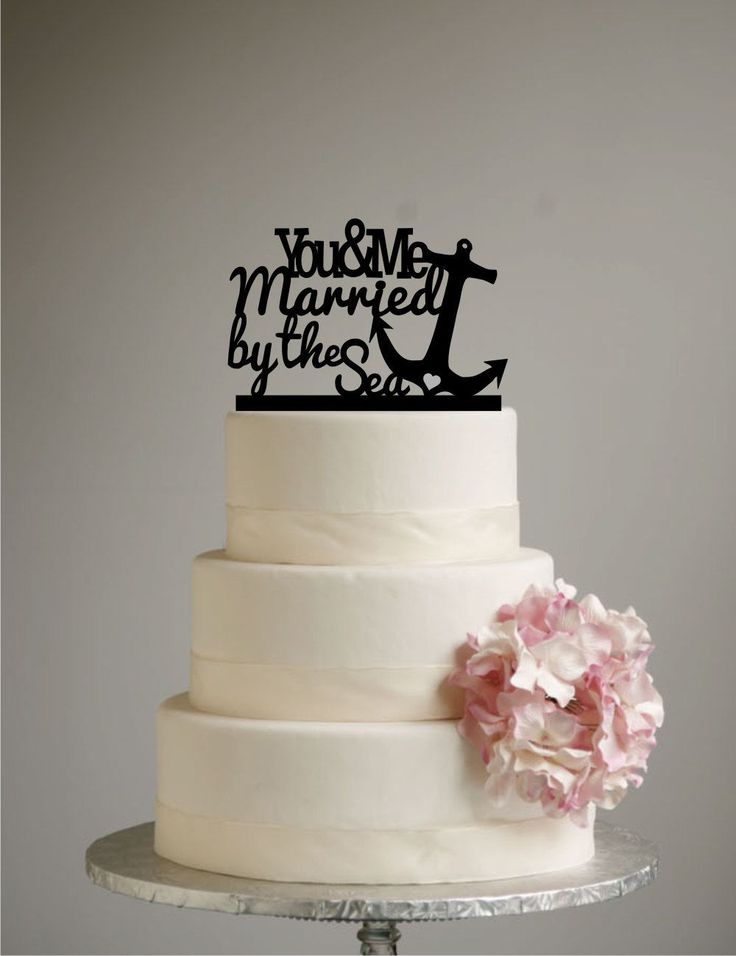 Beach Wedding Cake Topper - Destination Wedding - You and Me Married by the Sea - Nautical -  Anchor - Ocean by SugarBeeEtching on Etsy