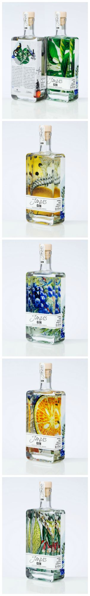 """LINEA The Spirit Valley - Janus Gin #packaging """"This digitally printed lable of Gin Is a mixture of multicolored gradients, complex illustrations and other visuals."""" World Packaging Design Society"""