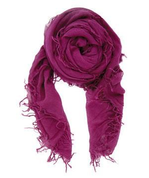 Chan Luu Ruby Cashmere and Silk Scarf: In transit, use this plush tissue-weight cashmere-and-silk scarf as a blanket. When you arrive at your destination, wrap it around your neck to give your rumpled outfit an instant devil-may-care elegance.