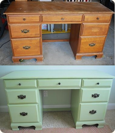 Great tutorial on painting old furniture! This desk cost $15 at a thrift store!!!