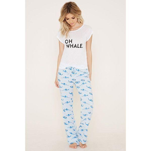 Forever 21 Women's Narwhal Print PJ Set ($18) ❤ liked on Polyvore featuring intimates, sleepwear, pajamas, forever 21 sleepwear, forever 21 pjs, forever 21 pajamas, forever 21 and j.crew pajamas