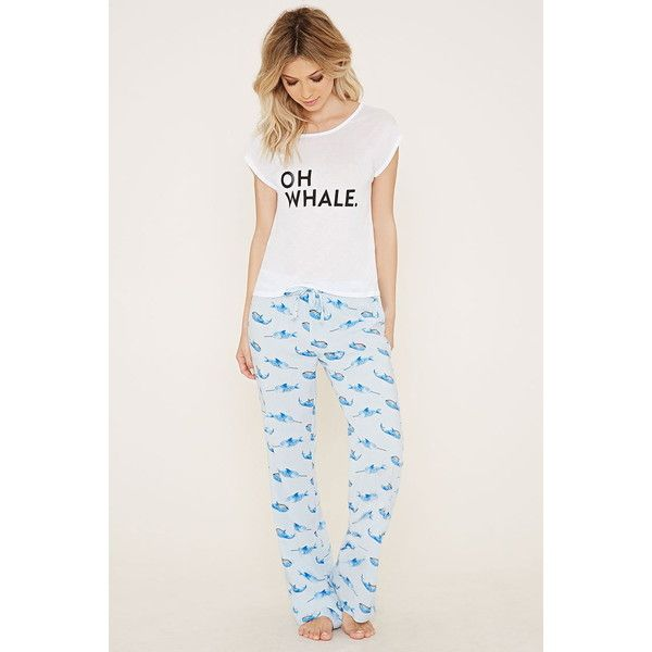 Forever 21 Women's Narwhal Print PJ Set ($18) ❤ liked on Polyvore featuring intimates, sleepwear, pajamas, forever 21 sleepwear, forever 21 pjs, forever 21 pajamas, forever 21 and j.crew pajamas