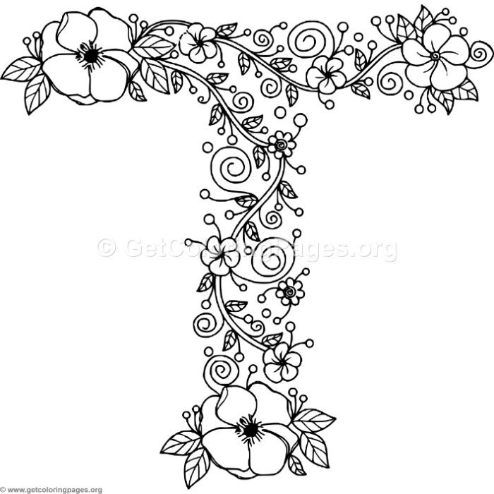letter t coloring pages Free Instant Download Floral Alphabet Letter T Coloring Pages  letter t coloring pages