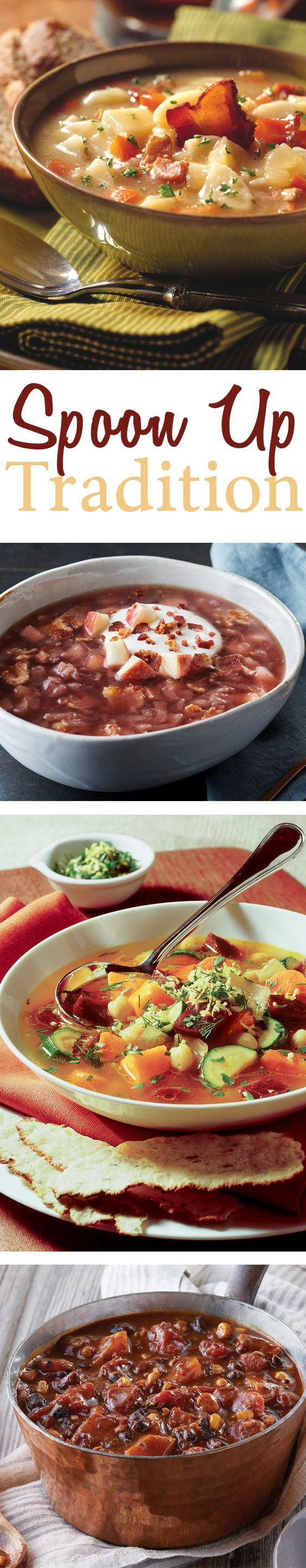 Soups and stews, like these recipes for German Potato Salad Soup, Bacon-Apple Red Cabbage Soup, Tex-Mex Bean and Butternut Squash Stew, and Rustic Vegetable Beet Soup, are perfect for cool weather.