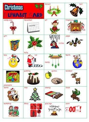 Christmas alphabet picture letter word charts abc - Alphabet noel ...
