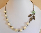 Free Shipping  Leaves and pearls Statement Necklace, Choker, Lariat Necklace, Pearl necklace, Ivory Pearls, Brass Chain