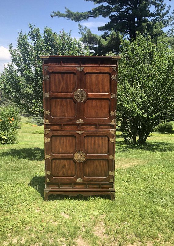 Vintage Henredon Armoire Pan Asian Collection Solid Walnut