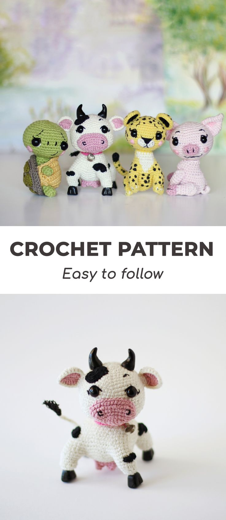#crochetcow #crochetturtle #crochetleopard #crochetpig #amigurumipattern