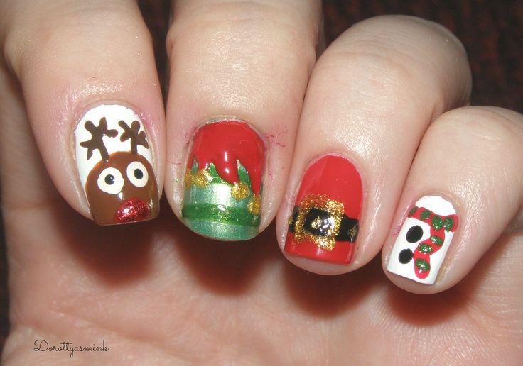 Christmas reindeer, elf, santa claus & snowman nails