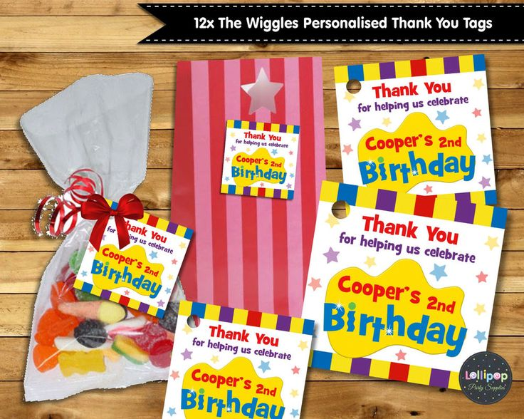 12X THE WIGGLES THANK YOU FAVOUR GIFT TAGS LABELS LOLLY BAG BIRTHDAY PARTY SUPPL #personaliseditem #Birthday