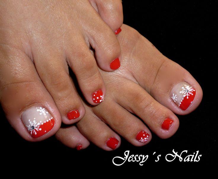 uñas navideñas para pies #uñas #pies #navidad #nailart