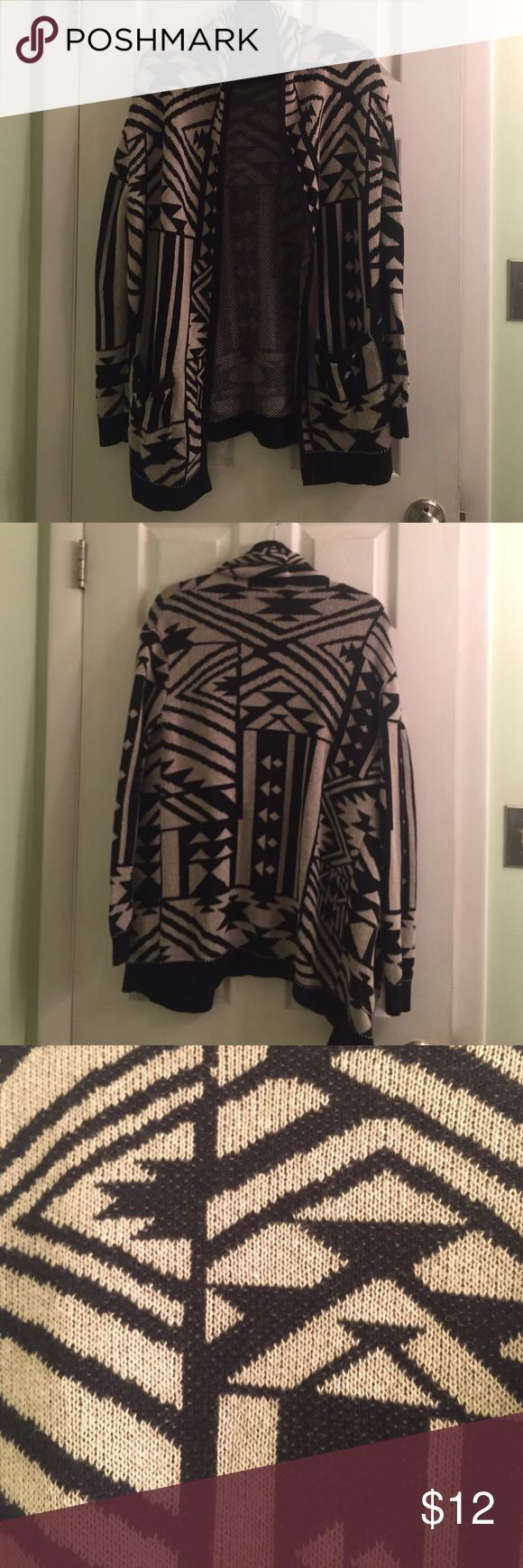 Long tribal cardigan sweater Perfect condition nude and black Ecote Sweaters Cardigans