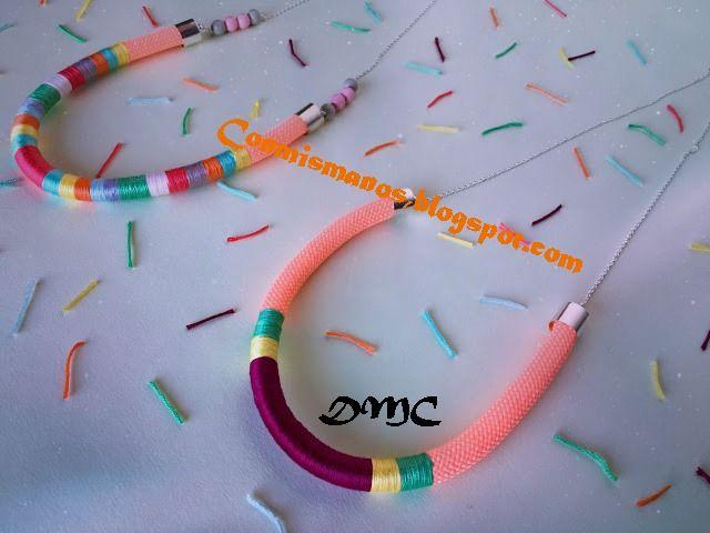 Nuria Picos una bordadora de Barcelona que borda metros y metros con nuestros hilos.  Nuria ha creados dos collares muy coloridos y súpe...
