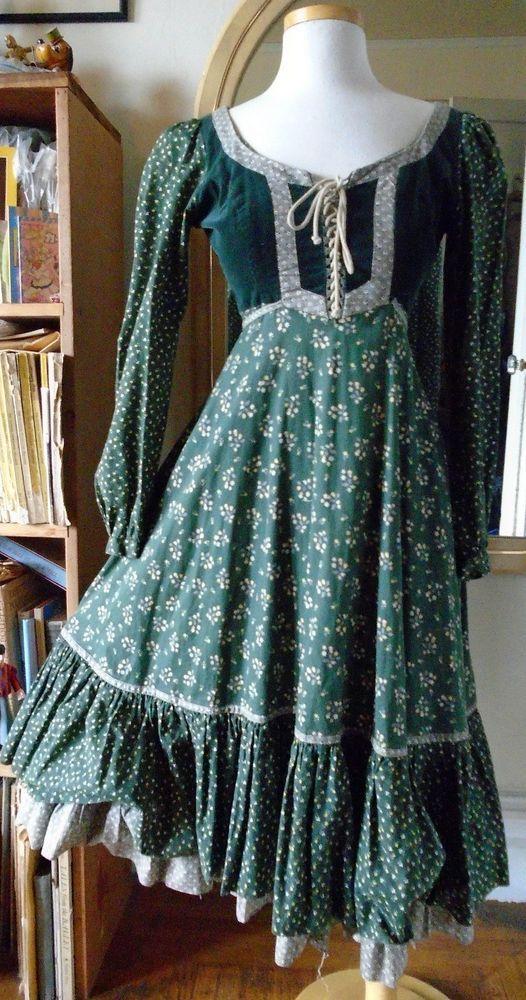 Vintage Gunne Sax Dress Corset Lacing Festival Boho Ren Faire Small   eBay