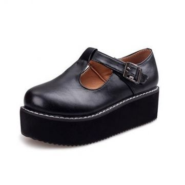 Women Flats Creeper T-Straps Round Toe High Platform Shoes - US$17.00