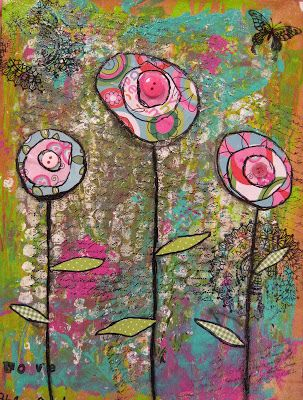 Angela Anderson Art Blog: Mixed Media Flowers - Kid's Art Class Check this site if you love Art.