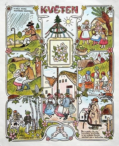 https://flic.kr/p/47HS53 | Josef Lada Calendar: May | josef lada. illustration. calendar. czechoslovakia. may
