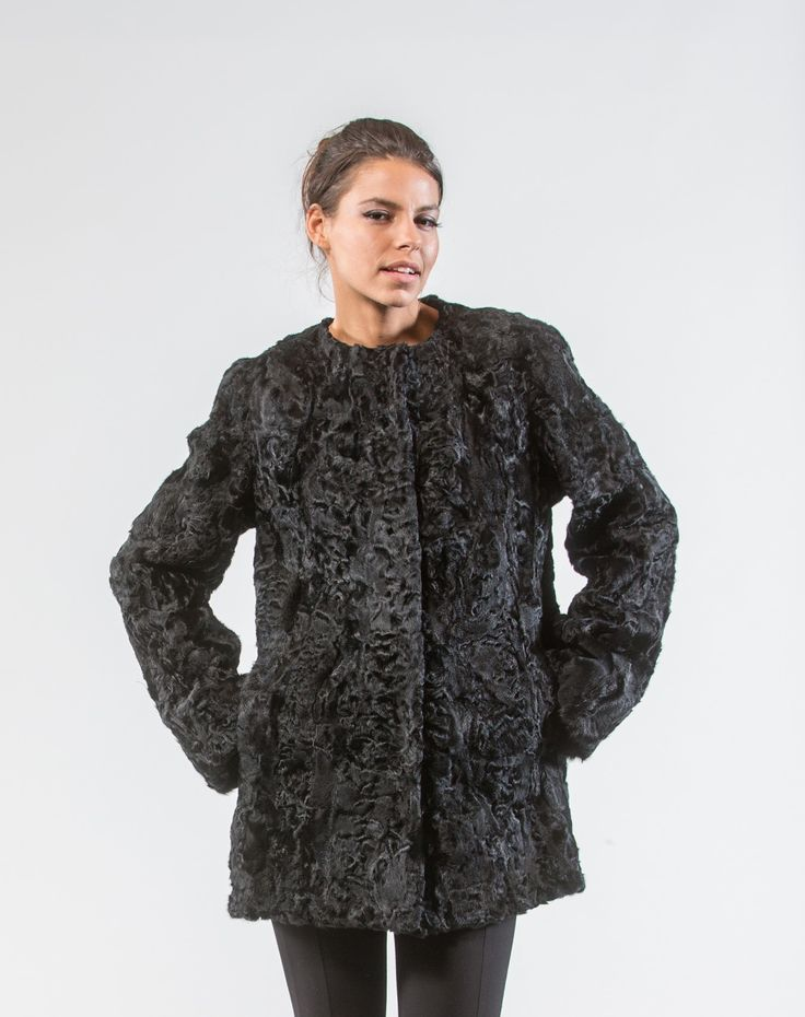 Black Swakara Fur Jacket     #black #swakara #fur #jacket #realfur #haute #style #fashion #outfit