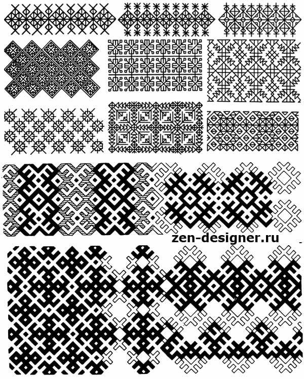 Схемы простейших сетчатых орнаментов и построение бордюров Мордовия