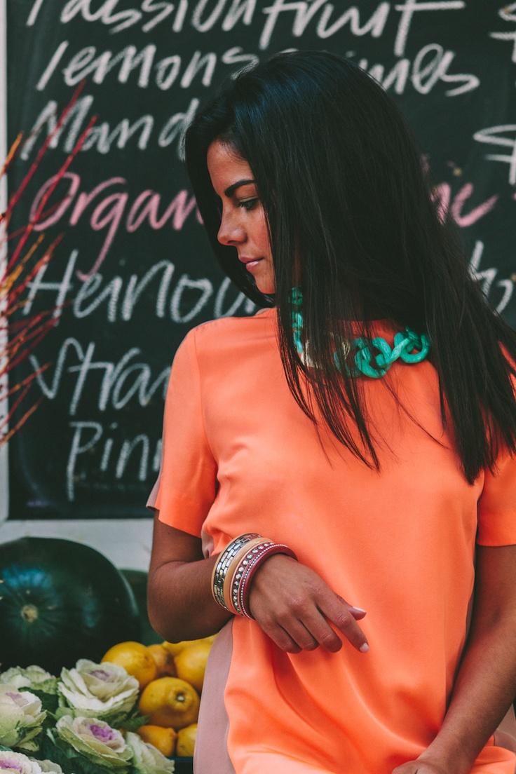 Lola & Syd Aqua + Gold Link Necklace and Autumn Bangle Stack