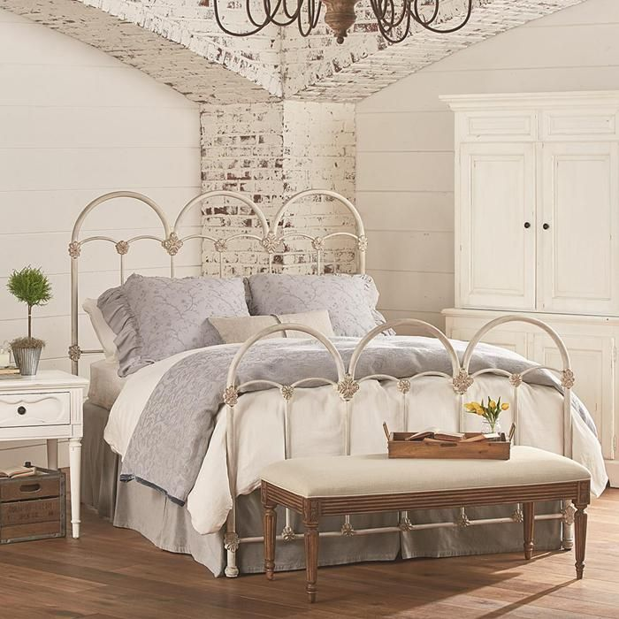 French inspired rosette iron queen bed in antique white - Nebraska furniture mart queen bedroom sets ...