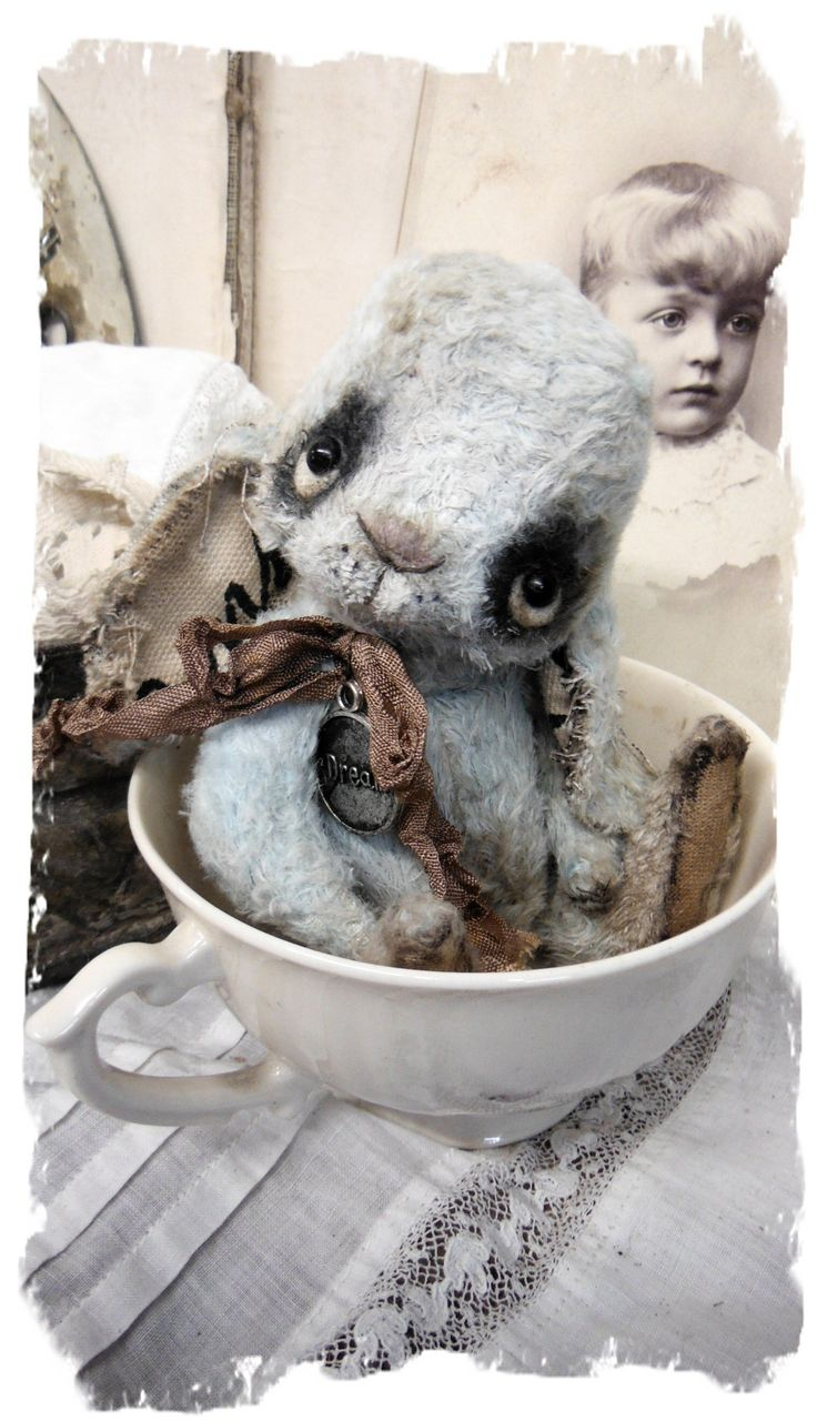 "One of a Kind""Dream"" - Little Bloo Wabbit  handmade by Wendy Meagher of Whendi's Bears - A NEW Original ONE OF A KIND DESIGN  *** Aprrox. 6"" Tall  - Antique Style Old Aged Little Blue Rabbit, vintage ribbon"
