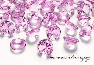 17kč/10ks, Růžové diamanty, 2cm průměr
