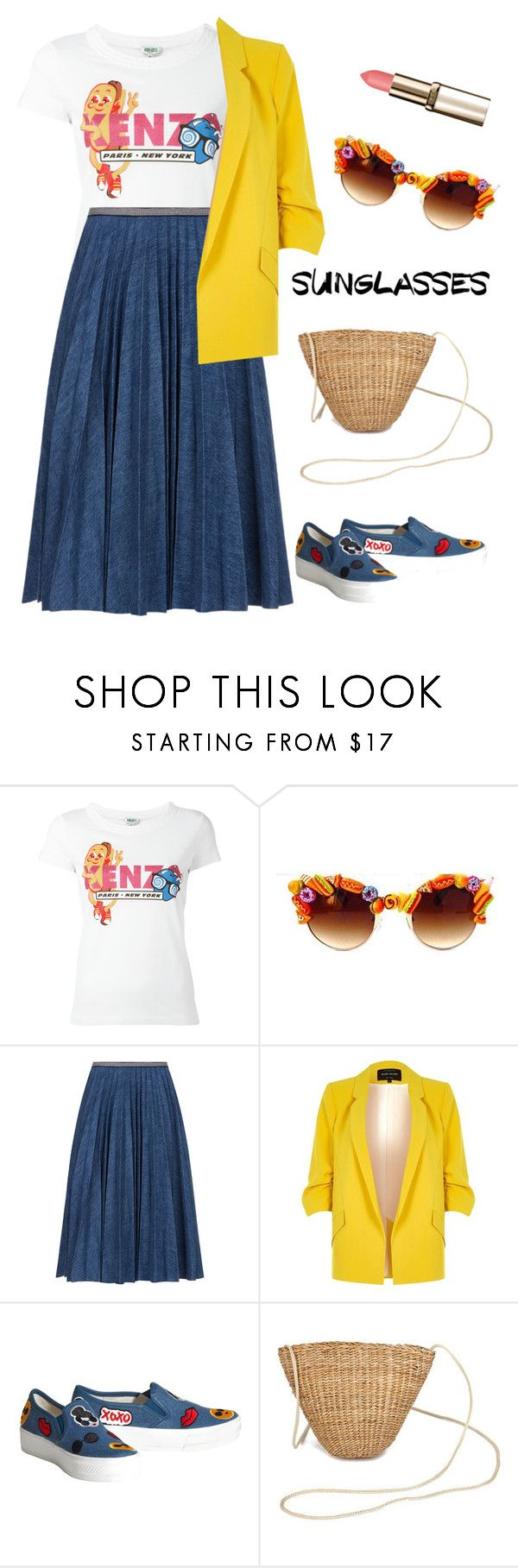 """funny vintage sunglasses"" by katymill ❤ liked on Polyvore featuring Kenzo, Gasoline Glamour, Leur Logette, River Island, Alice + Olivia, vintage, retro and RetroSunglasses"