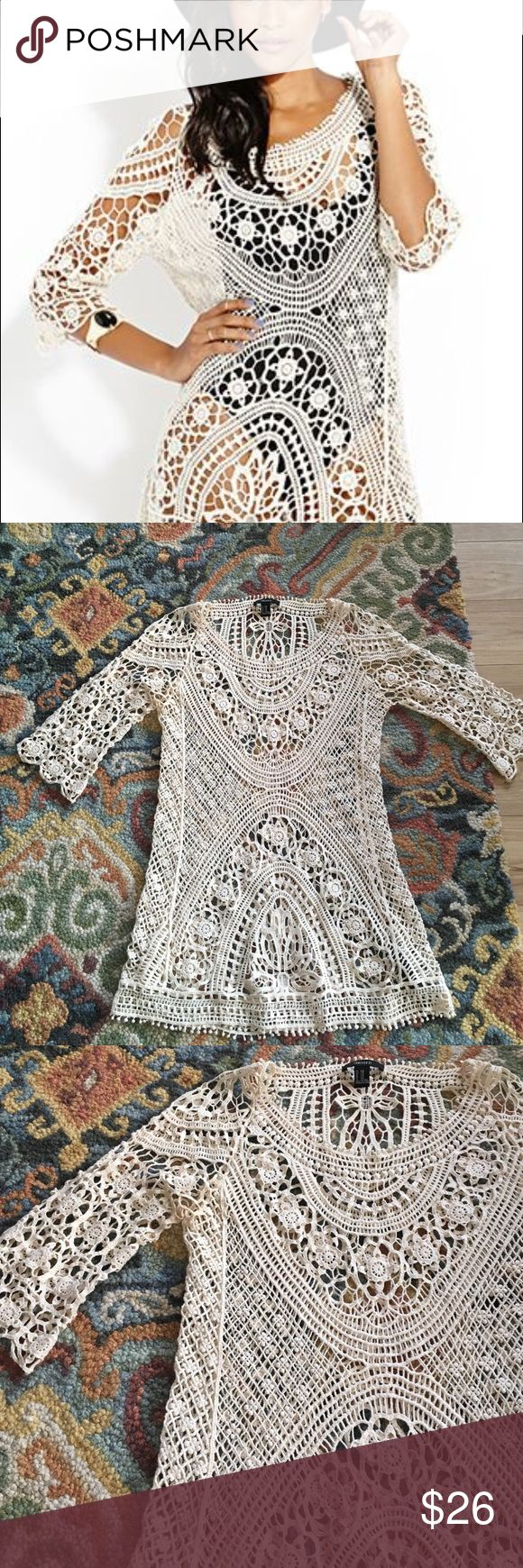Crochet mini longsleeve dress bohemian beach cover Worn once! Crochet mini with 3/4 sleeves from Forever 21. Bohemian closet essential, wear as a cover up or over a slip for a sexy summer night out Spell & The Gypsy Collective Swim Coverups