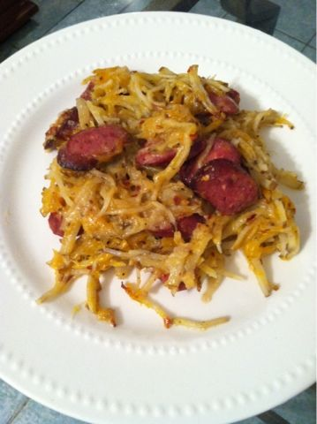 My Milk Glass: cheesy hashbrown casserole with smoked sausage