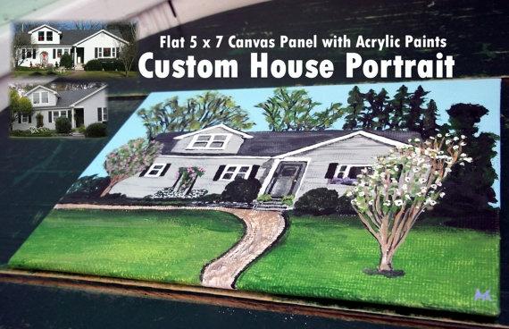 MINIATURE Custom HOUSE PORTRAIT 5 x 7 Flat Canvas by CustomSandArt, $50.00Minis House, Miniatures Custom, Portraits Hands, House Portraits, On A Flats Canvas, Flats Canvas Panels, Custom House, Canvases