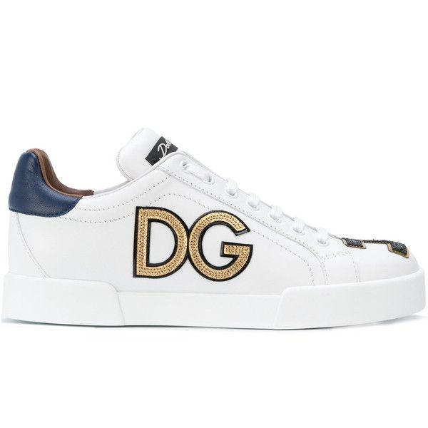 Dolce & Gabbana Embroidered Leather Sneakers ($690) ❤ liked on Polyvore featuring shoes, sneakers, white, flat sneakers, white flat shoes, leather lace up sneakers, lace up sneakers and laced up shoes
