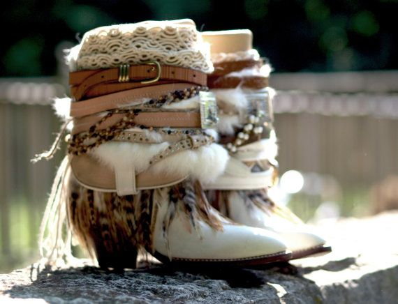Ready now! Upcycled TALL high vintage feathered boho white gypsy boots wedding boots COWBOY BOOTS - boho boots size 7 / 37.5
