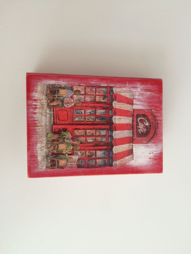 Vintage Wooden Book Shaped Box in Decoupage - Jewellery Storage - Retro Red London Cafe by MiseEnBoite on Etsy https://www.etsy.com/listing/205884401/vintage-wooden-book-shaped-box-in