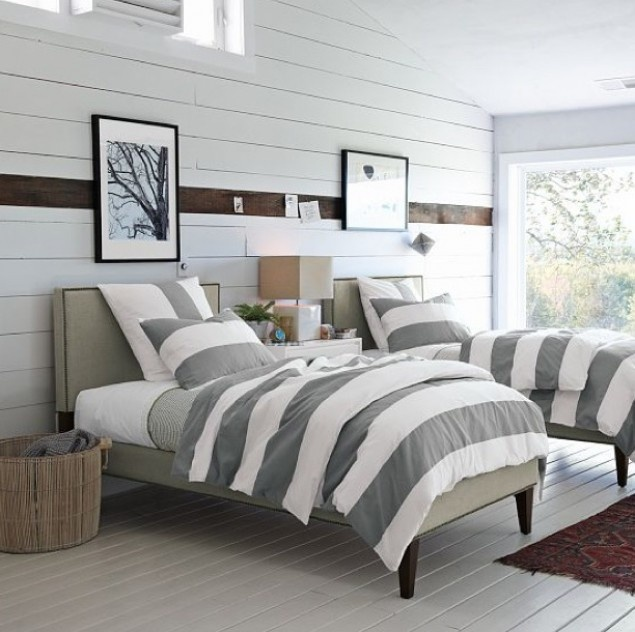 Bedspread Idea: Matching Grey Stripped Bedding With Color Accent Stripe Wall