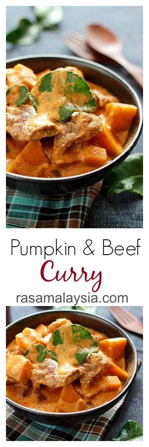 Pumpkin and Beef Curry. This Thai-style beef curry is amazingly delicious, with chunks of pumpkin in a mildly spicy and rich curry. | rasamalaysia.com