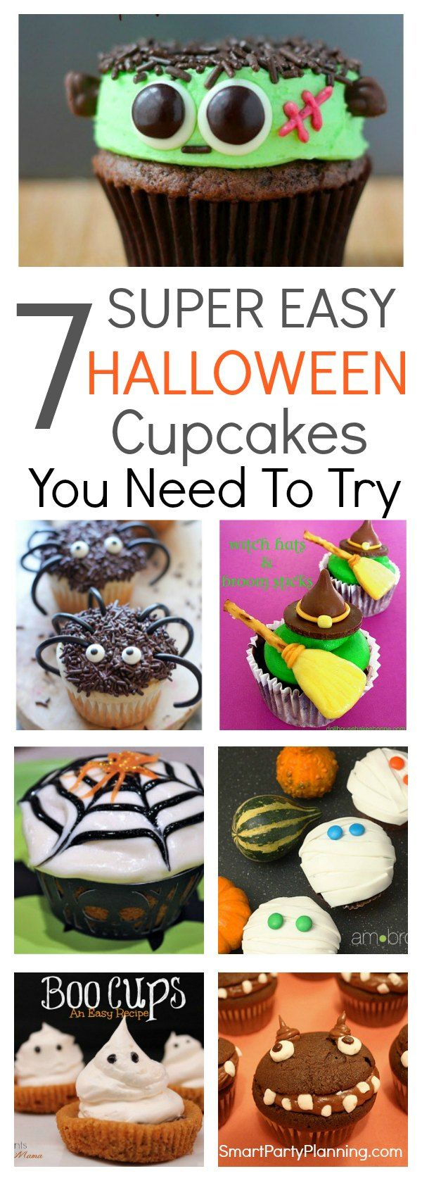7 super easy Halloween cupcakes that you have to try.  They are perfect for a Halloween party and are the kind of treats that both the adults and kids love. If you are looking for creepy food ideas this Halloween then make sure that cupcakes are on the list! via @https://au.pinterest.com/smartpartyplan/