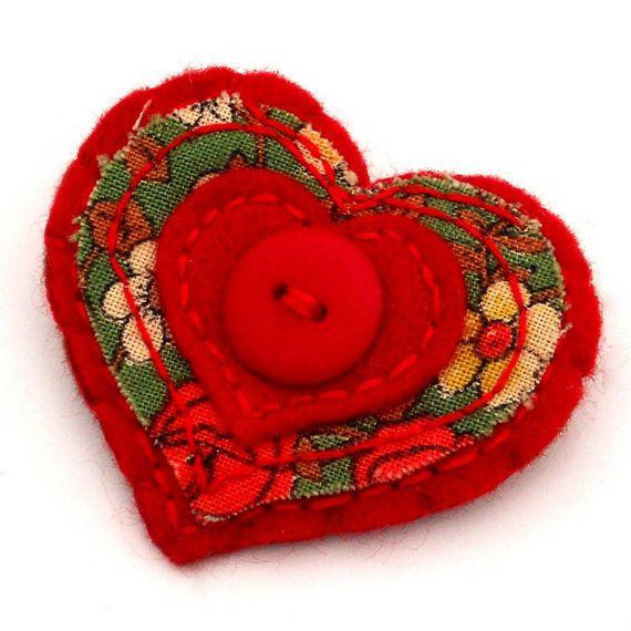 Felt brooch jewellery jewelry accessory Vintage Red Rose Heart