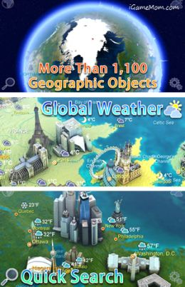 Earth 101 is a 3D model of the globe, with tons of geographic features and landmark information, a fun geography learning tool at your finger tip.  #kidsapps