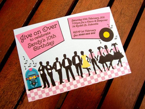 Grease themed party invitations pictures to pin on pinterest 1950s party invitation grease stopboris Choice Image