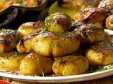 Yukon Gold Potatoes. Another potato side-dish add to put in rotation. Easy, delicious. Think Outback Steakhouse flavored baked potatoes! Just be careful with the salt in this dish. You can eliminate the broth and sub with water or do reduced sodium broth and even use unsalted butter. So yum!