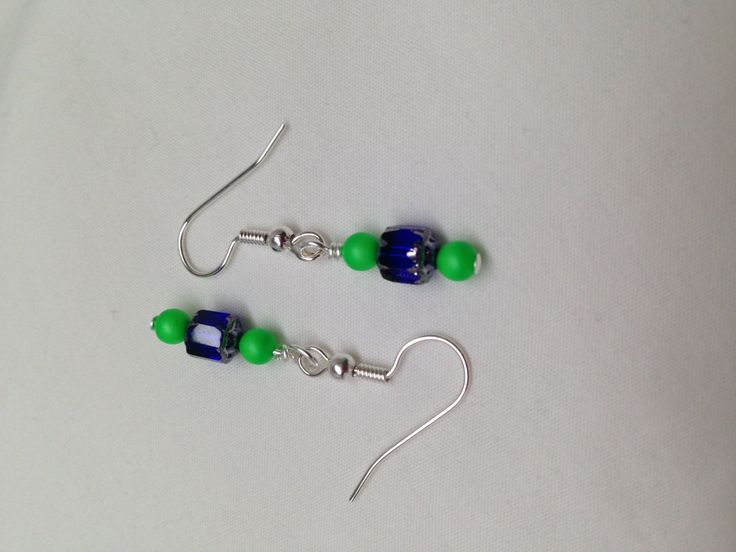 Seattle Seahawks COLORS-Earrings with blue and green beads by JewelryByTerriB on Etsy #jewelryonetsy #earrings #jewelry