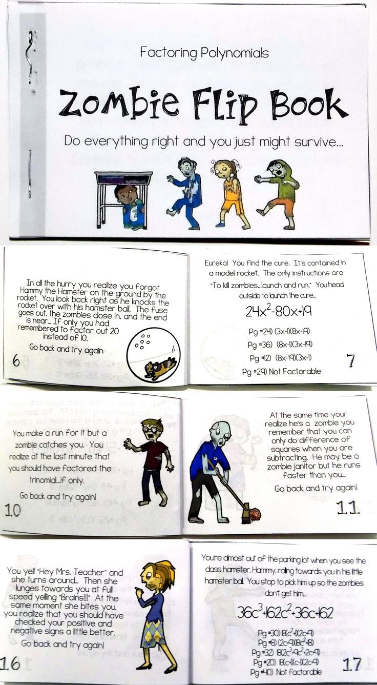 My Algebra Students Love Zombies This Self Checking Zombie Flip Book Is The Perfect Activi Factoring Polynomials Polynomials Factoring Polynomials Activity [ 1336 x 736 Pixel ]
